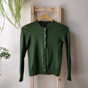 J. Crew Jackie Cotton Cardigan Green Warm Jade XS